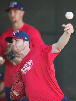 The Fort Myers Miracle pitcher Charlie Barnes practices on Wednesday at Hammond Stadium in Fort Myers.