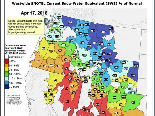 Snowpack map of entire West.