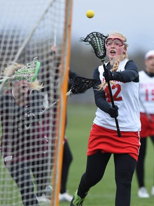 Red Hook's Ciara Burud shoots to score Red Hook's fifth goal during Tuesday's home game versus New Paltz.