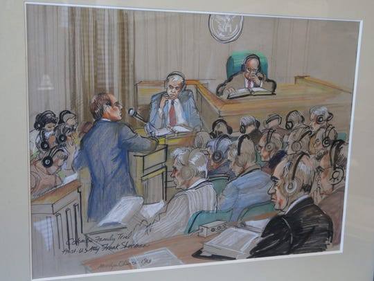 An artist's courtroom rendering of Assistant US Attorney