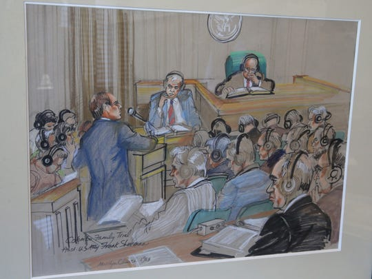 An artist's courtroom rendering of Assistant US Attorney Frank Sherman during the Colombo family trial done in 1985, hangs on Sherman's office wall.  Sherman is retiring after 40 years of prosecuting serious federal crimes.  Rochester Thursday, Oct. 5, 2017.