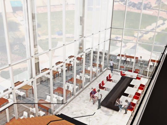A rendering showing the lounge area planned at Bridgestone Americas' new headquarters that's rising in the area south of Broadway.