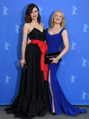 (L-R) Emily Mortimer and Patricia Clarkson pose at the 'The Bookshop' photo call during the 68th Berlinale International Film Festival Berlin on Feb. 16, 2018 in Berlin, Germany.