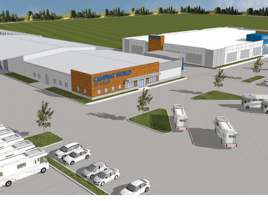 An artist's rendering of the Camping World retail center proposed for Jenkins Road in Fort Pierce.