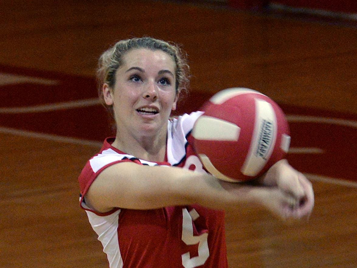 Kara Goff returns volley as Ruston takes on Haughton in volleyball.