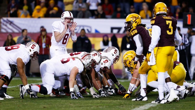 Stanford quarterback Kevin Hogan plays against ASU in the 2nd quarter at the PAC-12 Championship game on Saturday, Dec. 7, 2013 in Tempe.