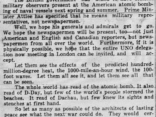 This editorial is from the February 6, 1946 Eagle-Gazette.
