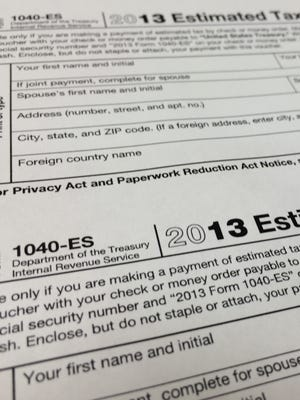 An IRS  2013 1040-ES estimated tax form at H & R Block tax preparation office in the Echo Park district of Los Angeles, in a 2014 photo.