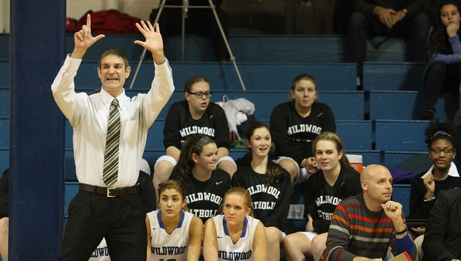 Wildwood Catholic girls basketball coach Steve DiPatri, will be inducted in the NJSCA Hall of FAme in April,.