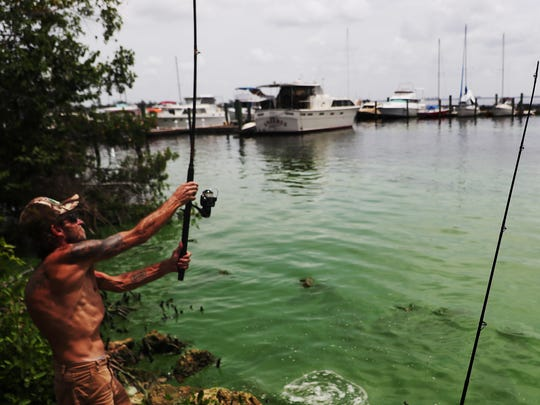 North Fort Myers resident James Van Winkle tries his luck fishing the Caloosahatchee River shore line next to the Old U.S. 41 bridge in North Fort Myers on Friday 7/6/2018.  He says any fish he catches were going back in the river because of the algae outbreak on the Caloosahatchee River, however if the water were clean he would keep the fish. He says he enjoys fishing the spot is conveniently close to his home.