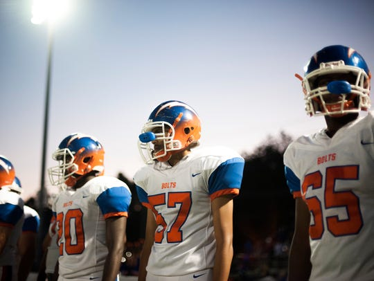 The Millville sideline Friday, Sept. 8, 2017 in a game