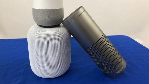 Amazon Echo, Apple HomePod and Google Home speakers