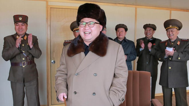 Kim Jong-Un inspecting the test of a new-type anti-air guided weapon system at an unknown location. photo released  on April 2, 2016.