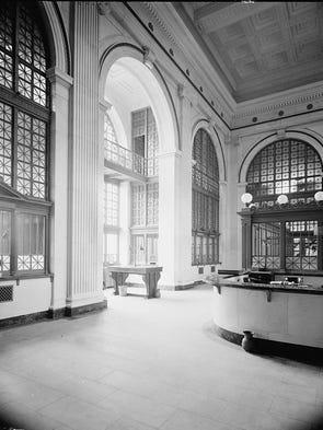 Historic photo of the State Savings Bank in Detroit.