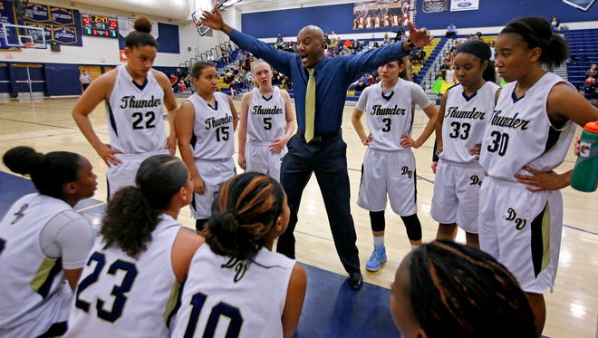 The Desert Vista girls basketball head coach Will Gray talks with his team during their basketball game against Hamilton Wednesday, Jan. 14, 2015 in Phoenix, Ariz. Desert Vista is the top-ranked girls basketball team in the Div. I state tournament and has a bye in the first round.