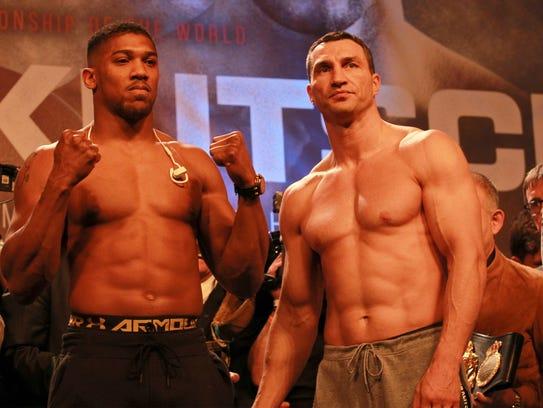 Britain's Anthony Joshua, left, and Wladimir Klitschko