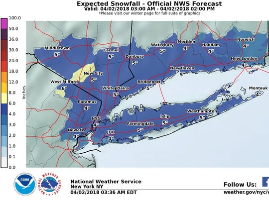 Up to 5 inches of snow could fall in the Lower Hudson