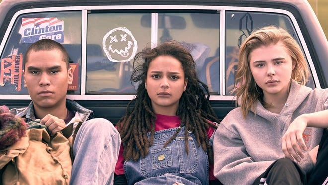 """Adam (Forrest Goodluck, left), Jane (Sasha Lane) and Cameron (Chloë Grace Moretz) forge bonds in conversion therapy in seriocomedy """"The Miseducation of Cameron Post."""""""