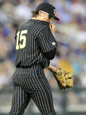 Vanderbilt pitcher Carson Fulmer reacts after giving up a run to Cal State Fullerton in the fifth inning on Sunday night.