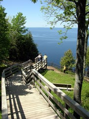 Stairs lead to lookout points on the cliffs at Ellison Bluff County Park in Door County.