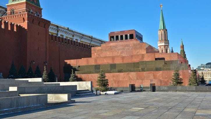 The Kremlin and Lenin's mausoleum on Red Square in Moscow.
