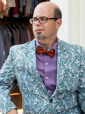 Food Network Star Jason Smith models a jacket and bow tie combo he paired while at Resale Encore. 9/27/17