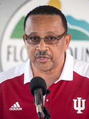 Tim Langford, father of Romeo Langford, spoke briefly during a ceremony naming the basketball court at Kevin Hammersmith Park after his son. 5/11/18