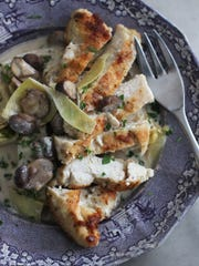 Chicken with tangy artichoke and mushroom sauce in Concord, N.H.