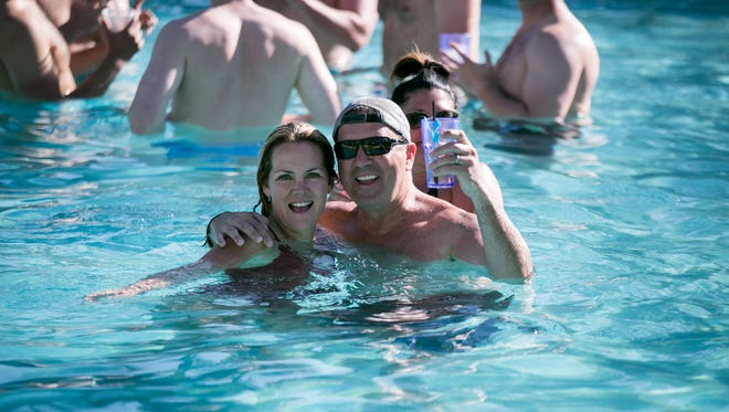 This duo raised a glass at Hotel Valley Ho's Pool Party in Scottsdale on Saturday, April 15, 2017.