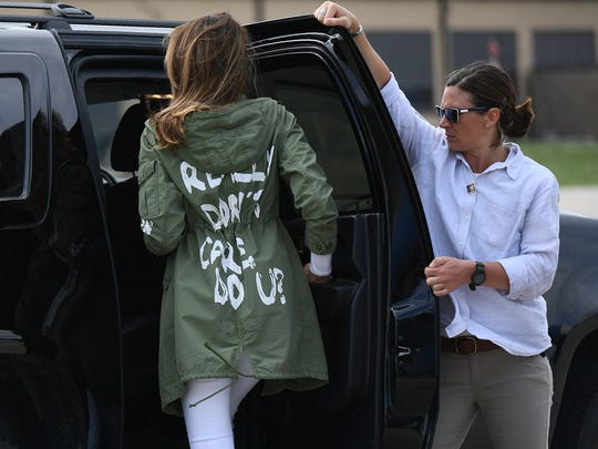 "First lady Melania Trump departs Andrews Air Rorce Base in Maryland Thursday wearing a jacket emblazoned with the words ""I really don't care, do you?"""
