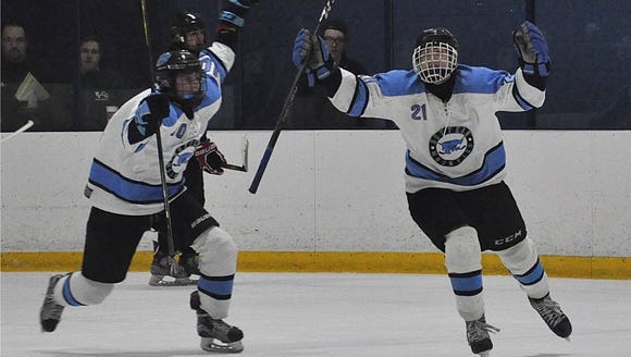 Suffern's Tom McCarren (l) and Kyle Foresta (r) celebrate