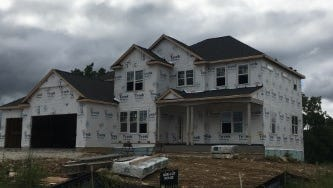 A house is under construction in the Woodside Ridge subdivision in Sussex.