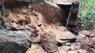Heavy damage in the Refrigerator Canyon section of the West Rim Trail was among the issues caused by heavy rain and flooding inside Zion National Park on July 11-12, 2018.