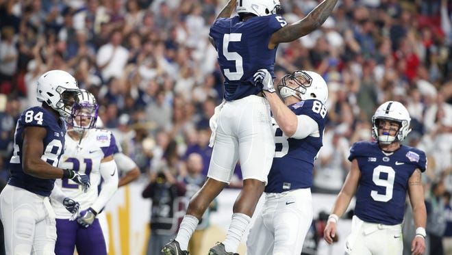 Penn State Nittany Lions wide receiver DaeSean Hamilton (5) celebrates a touchdown with teammate Penn State Nittany Lions tight end Mike Gesicki (88) during the 47th PlayStation Fiesta Bowl against the Washington Huskies at University of Phoenix Stadium in Glendale on December 30, 2017.