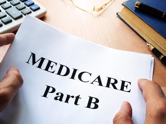 Medicare Part B on a desk.