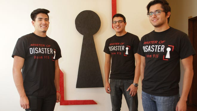 Sal Garcia, left to right, Joel Delgado and Luis Villagomez run Disaster Room 915, El Paso's first escape room experience. A group is placed in a room where everyone must work together to find clues, solve puzzles and decipher codes to unlock locks to escape the room and complete the mission.