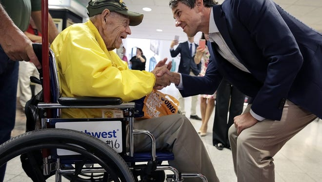 """U.S. Rep. Beto O'Rourke, D-El Paso, recently welcomes home World War II veteran Elias """"Pops"""" Campos, who traveled to Washington, D.C., with the Honor Flight program, at the El Paso International Airport. O'Rourke says the El Paso VA must work harder to properly serve veterans."""