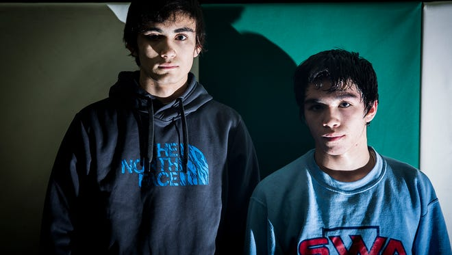 Yorktown wrestlers Brayden and Xayvier Curtis at Yorktown High School.