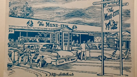 Robert Lartz Sr. purchased this postcard showing the Menu-Ette restaurant, described as four miles east of York on Route 30. The image was drawn by local artist Cliff Satterthwaite, whose documentary drawings of the York area often appeared in the York Daily Record and its predecessor, The Gazette and Daily, from the 1950s to the 1970s.