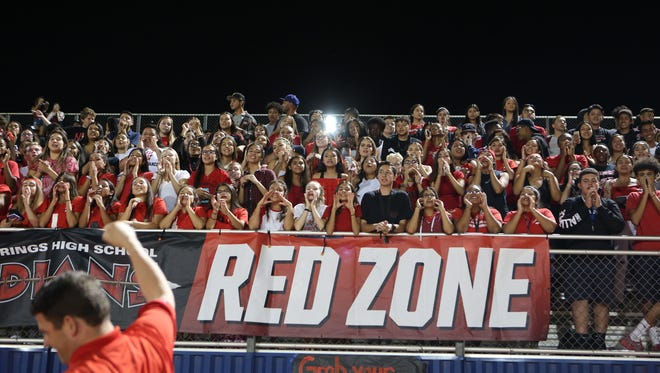 Palm Springs fans cheer during a DVL varsity football game in Cathedral City on Friday night, October 6, 2017.