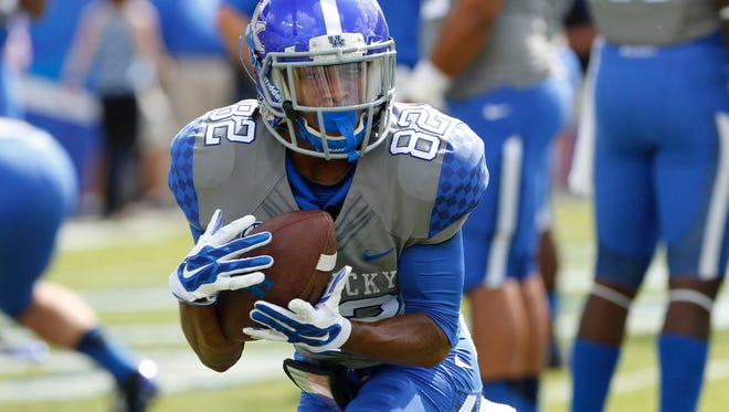 UK receiver T.V. Williams (82) pictured before Saturday's game against the Ohio Bobcats at Commonwealth Stadium.