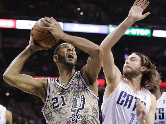 San Antonio Spurs' Tim Duncan (21) looks to shoot as he is defended by Charlotte Bobcats' Josh McRoberts (11) during the first half of an NBA basketball game, Friday, Feb. 28, 2014, in San Antonio. (AP Photo/Eric Gay)
