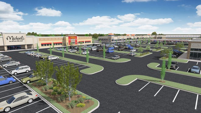 A rendering of the proposed Burlington Town Center, which will be renovated  from an indoor mall to an open air shopping center on Mount Holly Road.