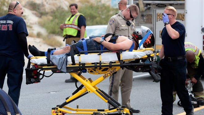 One man was injured in a motorcycle crash on Highway 111 in Palm Springs Saturday, July 30, 2016.