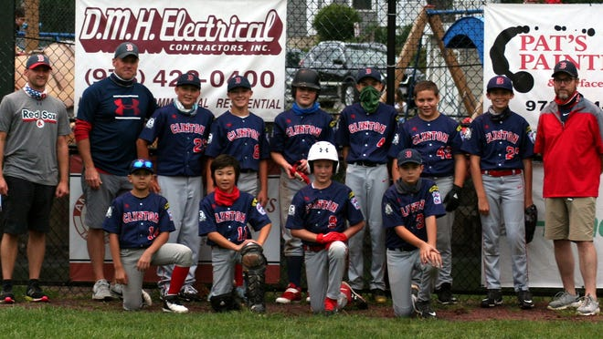 The Red Sox included (kneeling, from left) Abdiel Soto, Thomas Bates, Daniel Bourque and Justin Lefebvre; (standing, from left) Coach Dave Silvester, Coach Tom Nelson, Jordan Martorano, Brian Silvester, Joshua Nelson, Jaedan Braga, Philip Sanders, Cullan Hastings and Coach Joel Bates