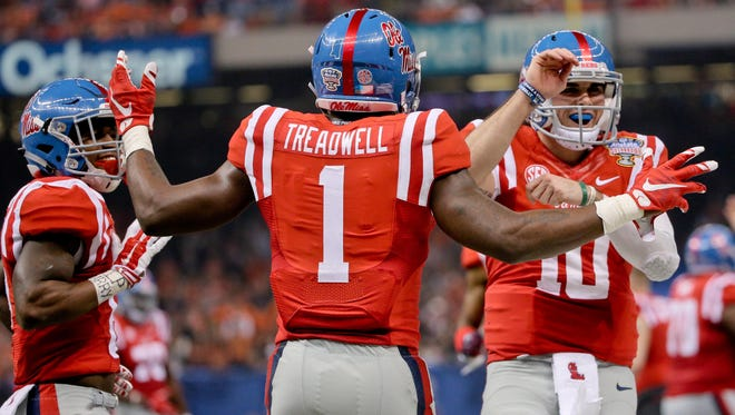 Former Ole Miss wide receiver Laquon Treadwell (1) caught more than 200 passes in his career, but ESPN's Mel Kiper Jr. questions his speed.
