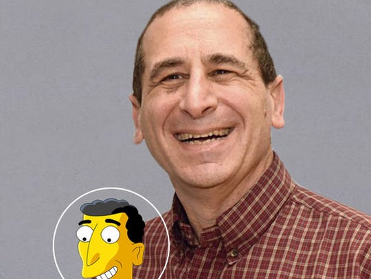 Author Mike Reiss and his cartoon doppelganger.