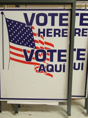 Voting sign set up in Carlsbad