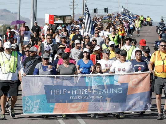 Over 300 participated in the Help, Hope, Healing walk to the Crime Victims' Memorial in 2016. The 13th annual walk hosted by El Paso District Attorney Jaime Esparza will take place Sunday.