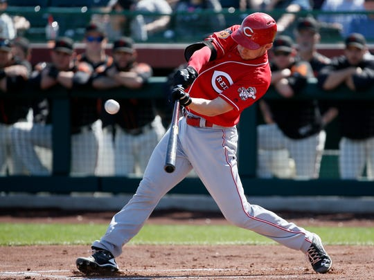 Cincinnati Reds catcher Rob Brantly (67) lines out to center field in the first inning.